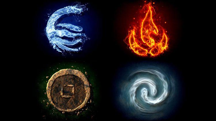 Quatre éléments (terre/air/eau/feu)